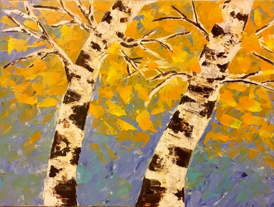 I always have some variation of birch trees going...whether in shape or color. This knife painting is a bit too bright for now...gonna add darker orange tones to the leaves.