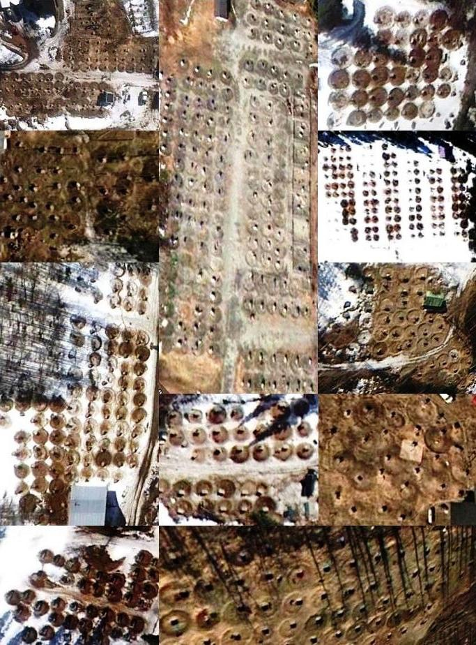 This is a collage of aerial views of Alaskan sled dog farming operations. Cha-Ching.